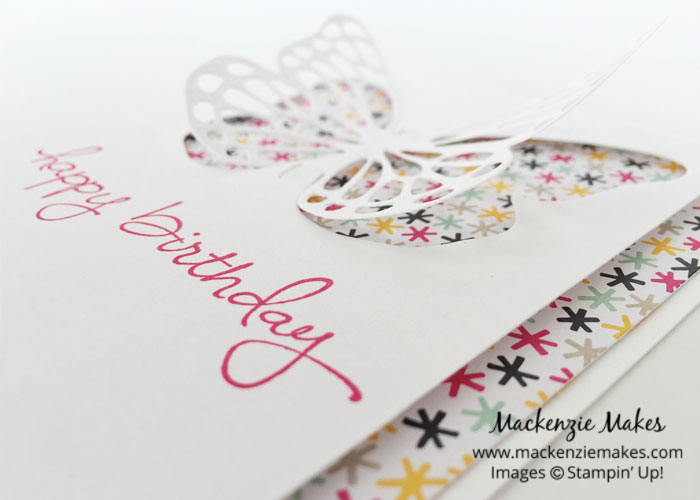 Butterfly Happy Birthday Card – Fun brithday card using the Butterflies Thinlit Dies and Endless Birthday Wishes.   #mackenziemakes #makewithme #stampinup   www.mackenziemakes.com