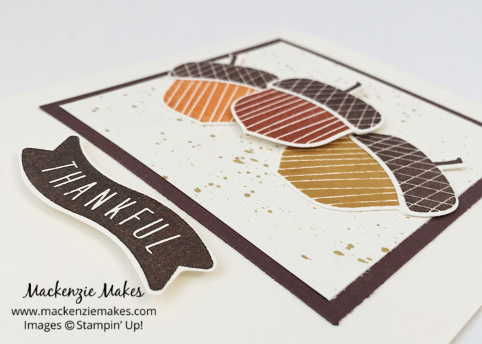 Acorny Thank You Cards - Simple and Stepped Up – See how to make two cards, one simple and one stepped up, using the Acorny Thank You stamp set. | #mackenziemakes #makewithme #stampinup | www.mackenziemakes.com