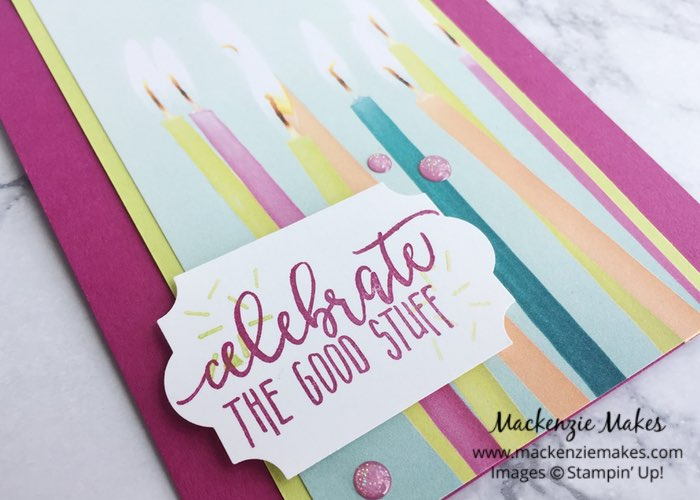 """Picture Perfect Party Birthday Cards – Click through to learn how to make these fun and quick """"his and hers"""" birthday cards featuring the Picture Perfect Party Suite from Stampin' Up!   #mackenziemakes #makewithme #stampinup   www.mackenziemakes.com"""