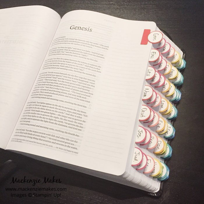 How to Make Books of the Bible Tabs – Click through to learn how to add tabs to your journaling Bible.   #mackenziemakes #biblejournaling #stampinup   www.mackenziemakes.com