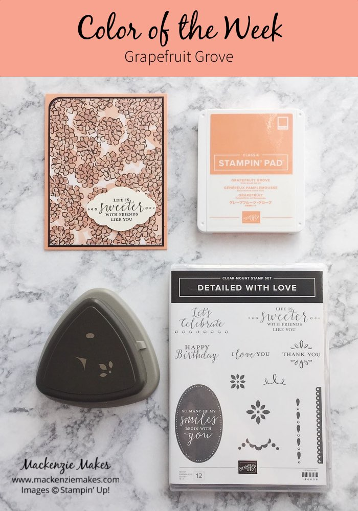 Color of the Week - Grapefruit Grove – Click through to see this week's Color of the Week - Grapefruit Grove. Find color combinations and comparisons, and a list of products containing this color.   #mackenziemakes #makewithcolor #stampinup   www.mackenziemakes.com