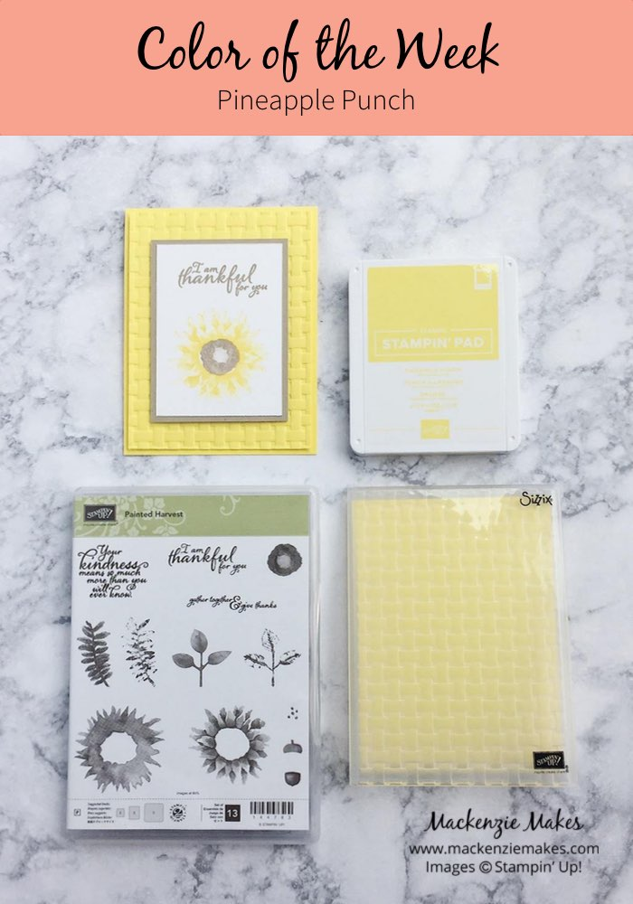 Color of the Week - Pineapple Punch – Click through to see this week's Color of the Week - Pineapple Punch. Find color combinations and comparisons, and a list of products containing this color. | #mackenziemakes #makewithcolor #stampinup | www.mackenziemakes.com