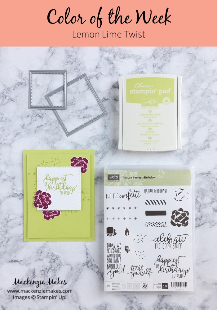 Color of the Week - Lemon Lime Twist – Click through to see this week's Color of the Week - Lemon Lime Twist. Find color combinations and comparisons, and a list of products containing this color. | #mackenziemakes #makewithcolor #stampinup | www.mackenziemakes.com