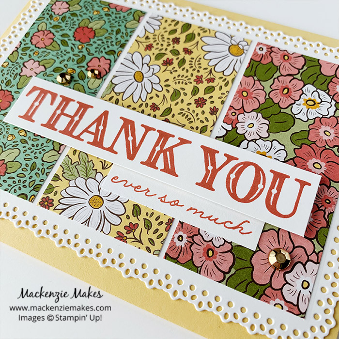 Ornate Garden Suite Thank You Card – Click through to see a beautiful card made using the Ornate Garden Suite of products from Stampin' Up!   #mackenziemakes #stampinup   www.mackenziemakes.com