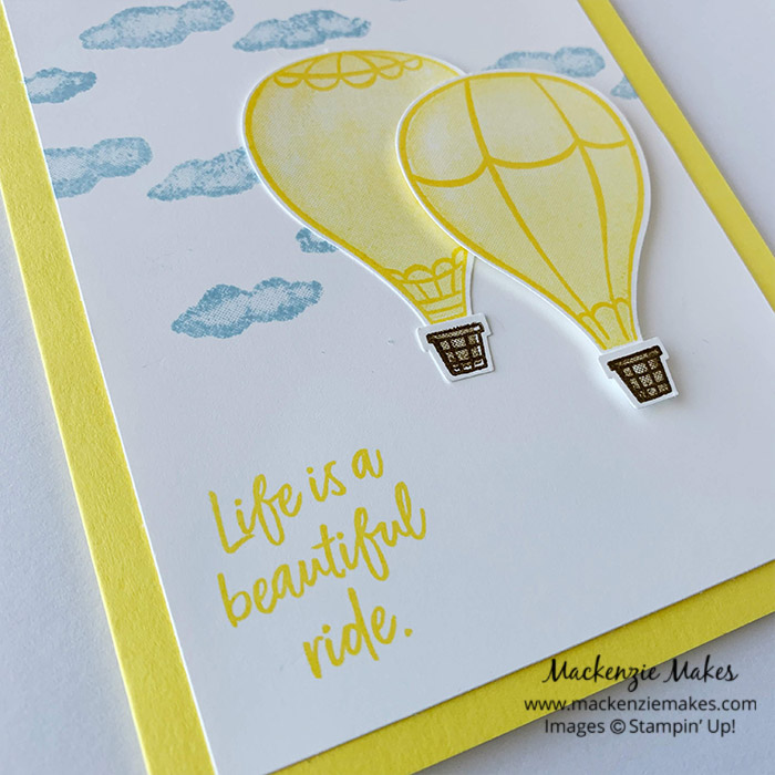 Retiring 2018-2020 In Colors – Click through for a final look at the 2018-2020 In Colors: Lovely Lipstick, Grapefruit Grove, Pineapple Punch, Call Me Clover, and Blueberry Bushel. Each card is stamped with the same layout using the Above the Clouds stamp set. | #mackenziemakes #stampinup | www.mackenziemakes.com